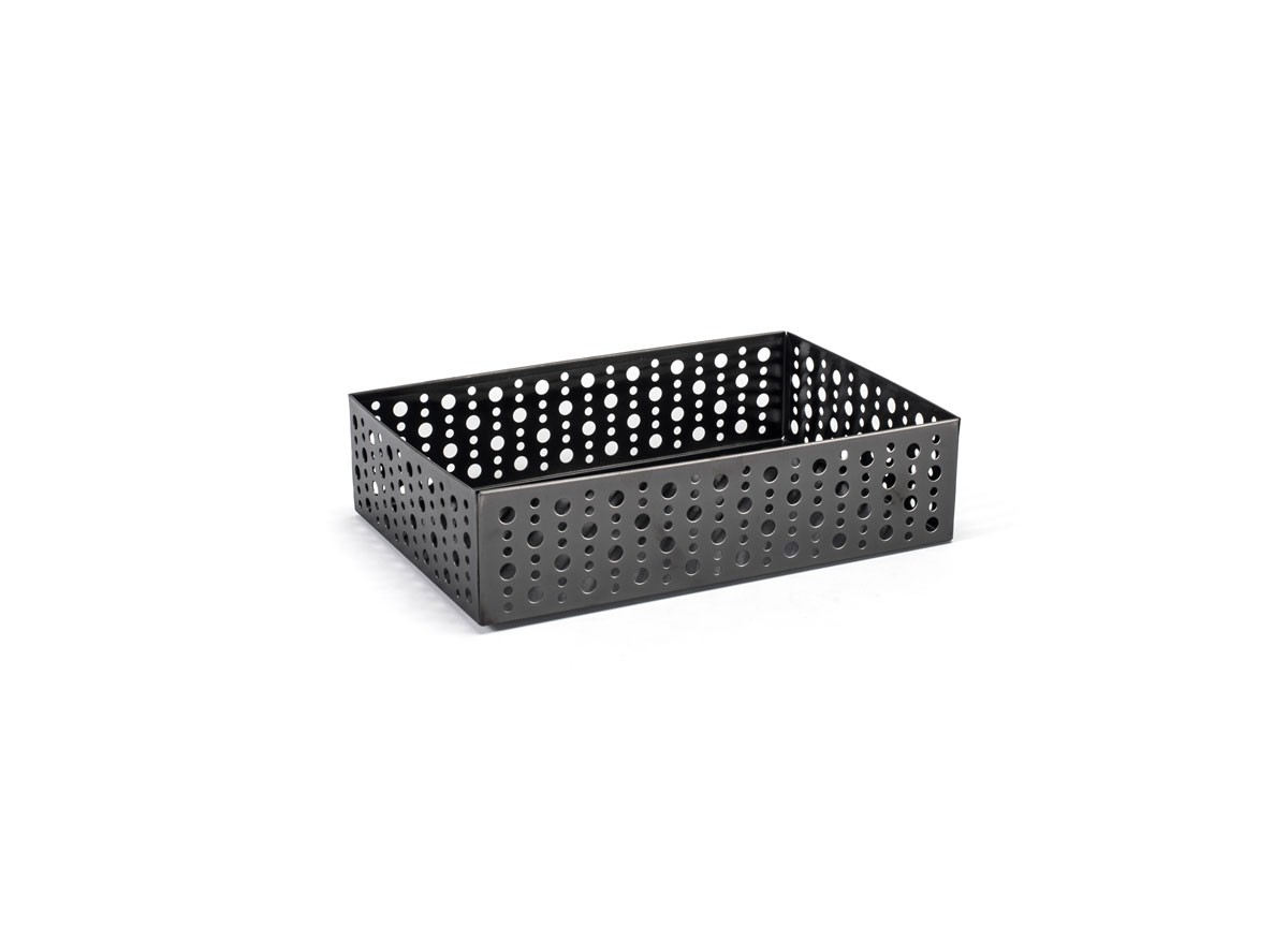 "9"" x 6"" Brushed SS Dots Holder - Matte Black"