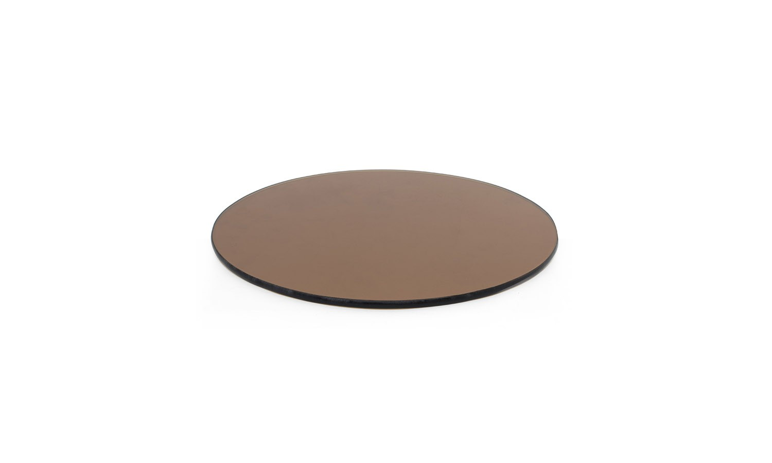 """14"""" Round Buffet Boards - Amber Tempered Glass"""