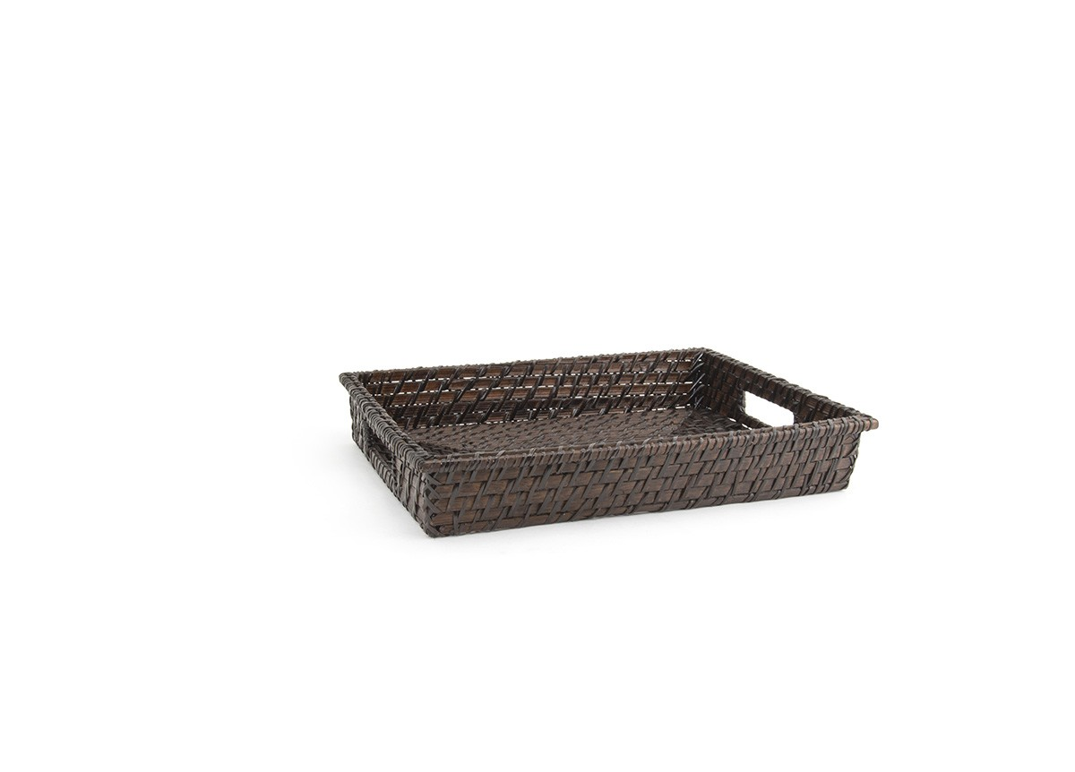 "14.5"" Rectangle Rattan Tray - Chocolate"
