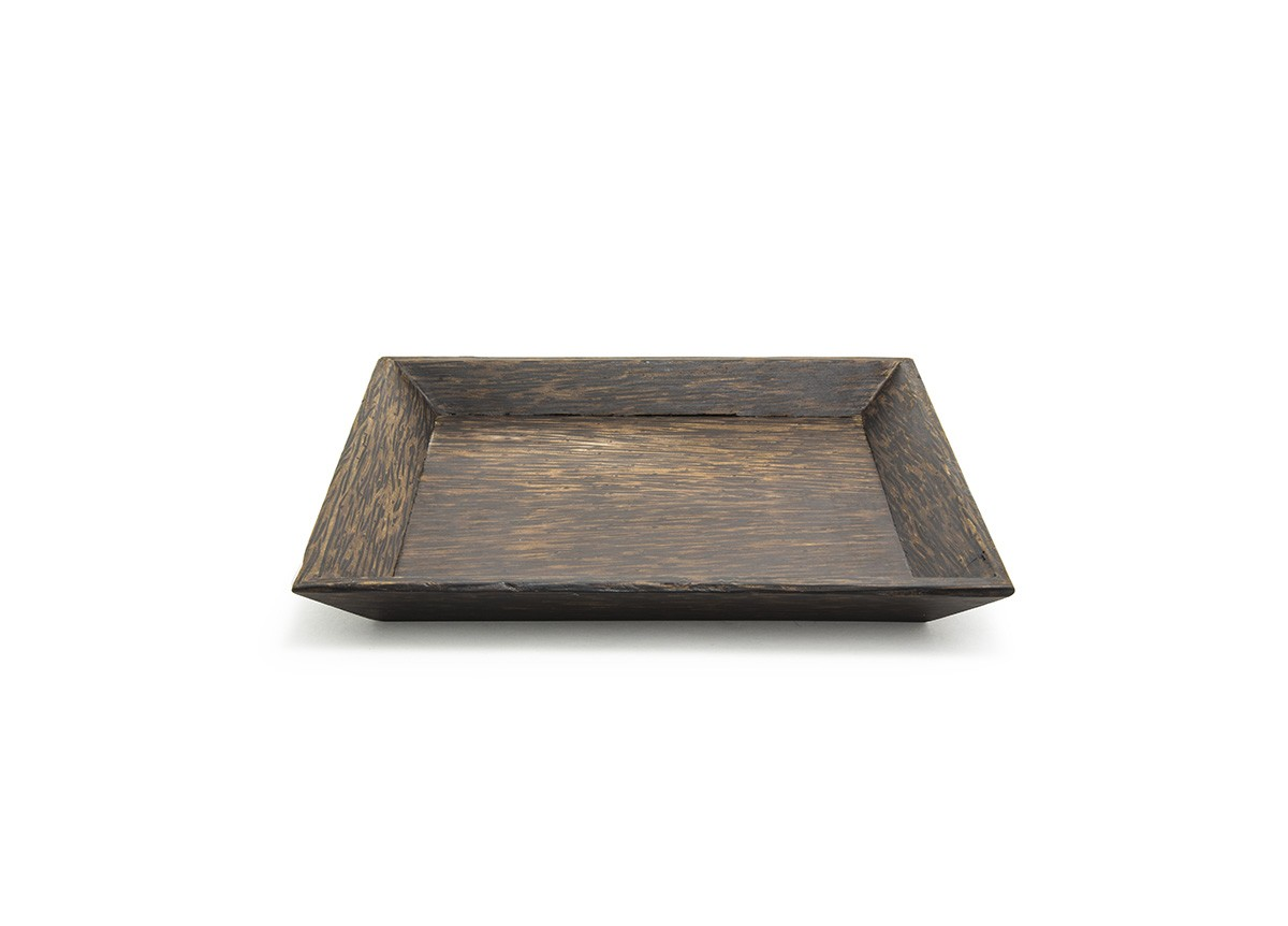 """9.5"""" Square Palm Wood Tray"""