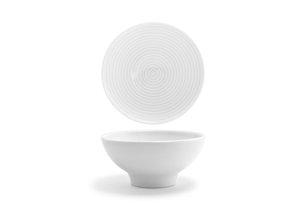 """5"""" Spiral Footed Bowl - White"""