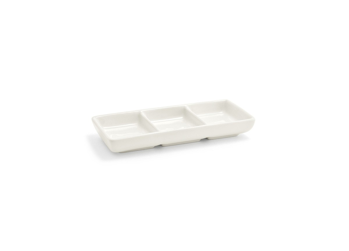 Stackable Three Compartment Dish - Eurowhite