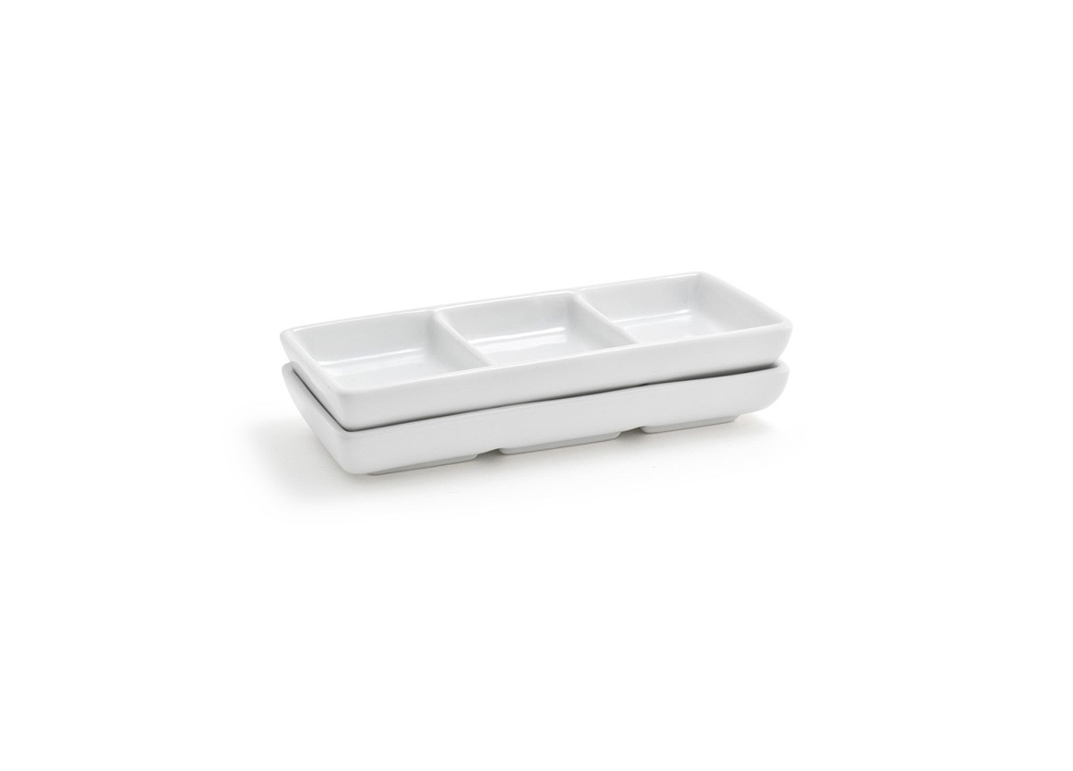 Stackable Three Compartment Dish - White