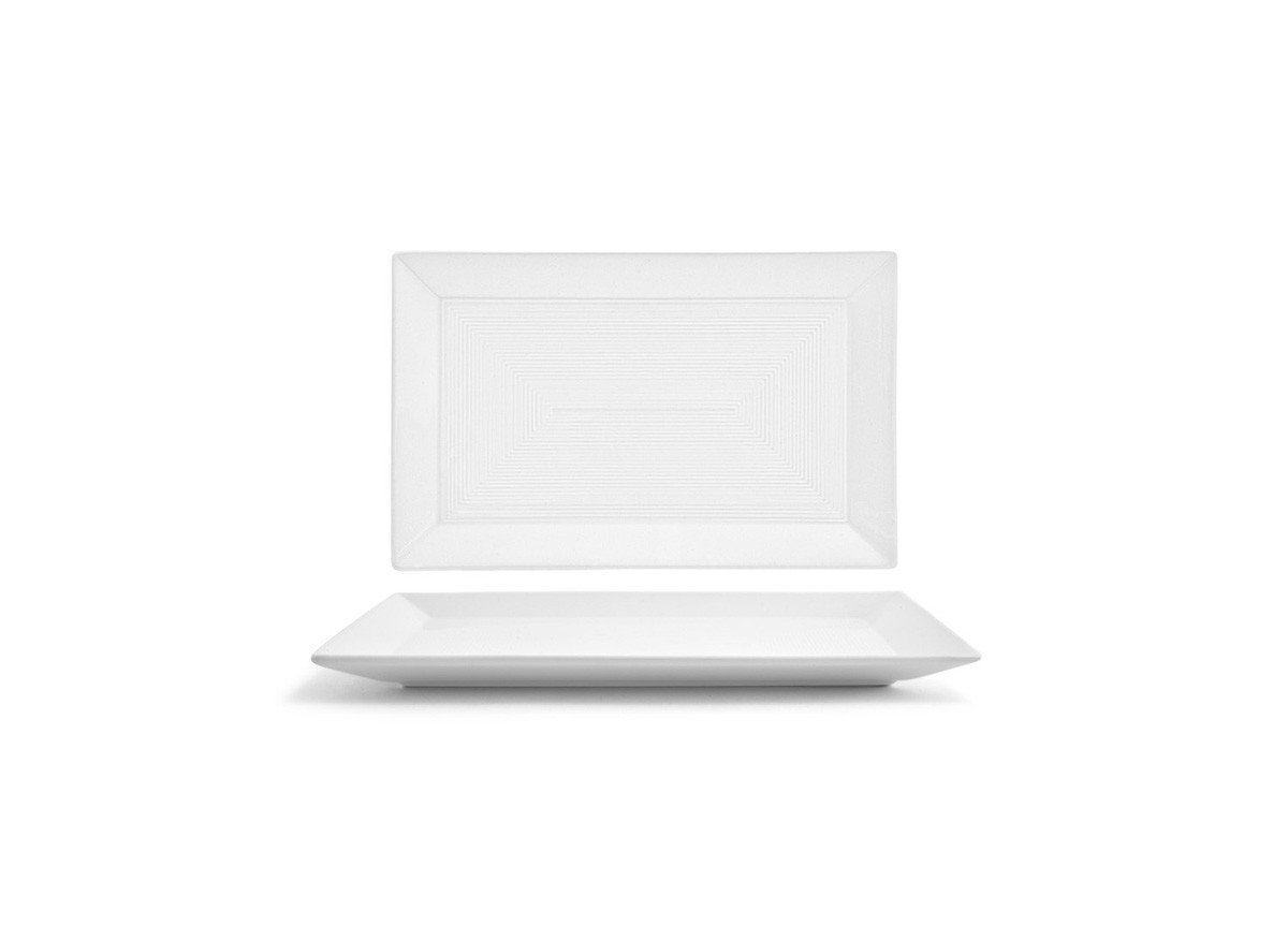 """11"""" x 7"""" Spiral Rectangle Plate - White"""