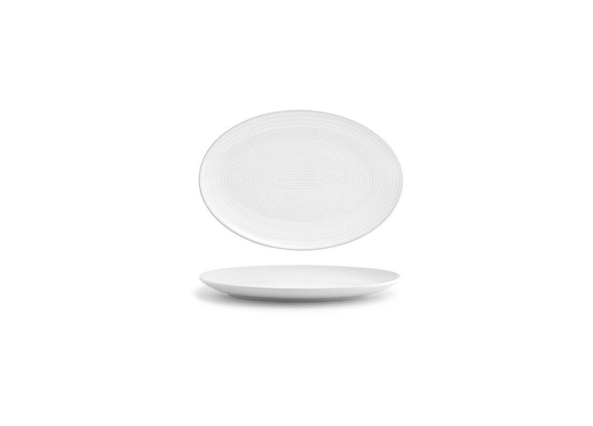 """9.5"""" Spiral Oval Coupe Plate - White"""