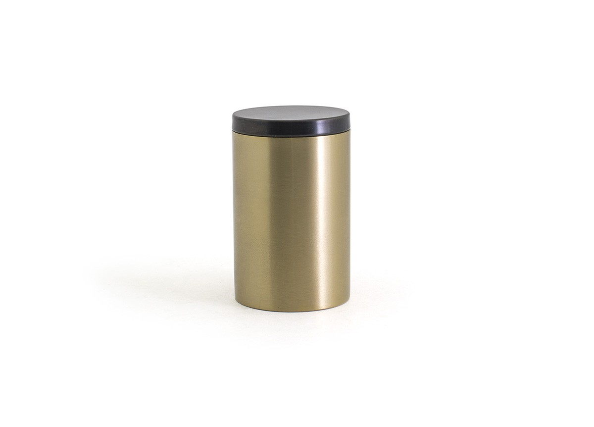 SS Jar with Lid - Matte Brass with Matte Black Lid