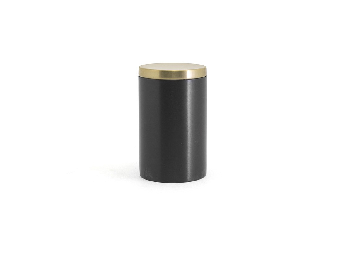 SS Jar with Lid - Matte Black with Matte Brass Lid