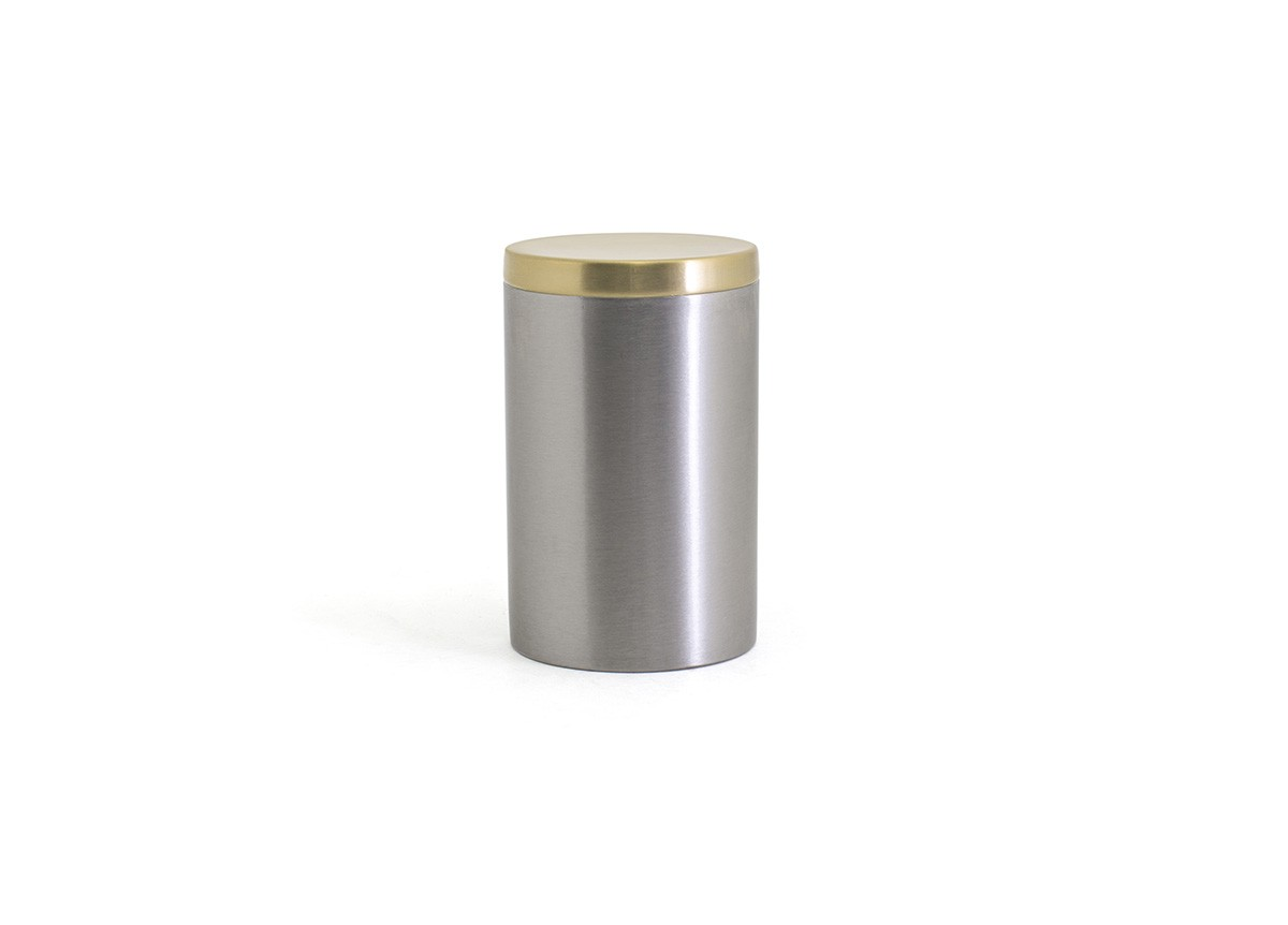 SS Jar with Lid - Silver with Matte Brass Lid