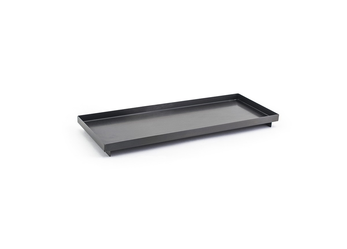 Rectangle Ss Footed Tray Matte Black