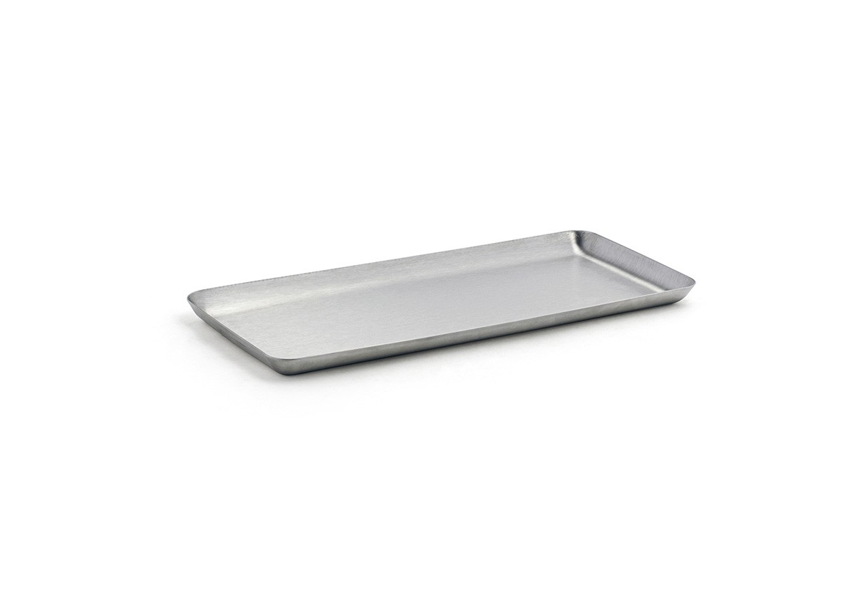 "10"" x 4.5"" Brushed Stainless Tray - Silver"