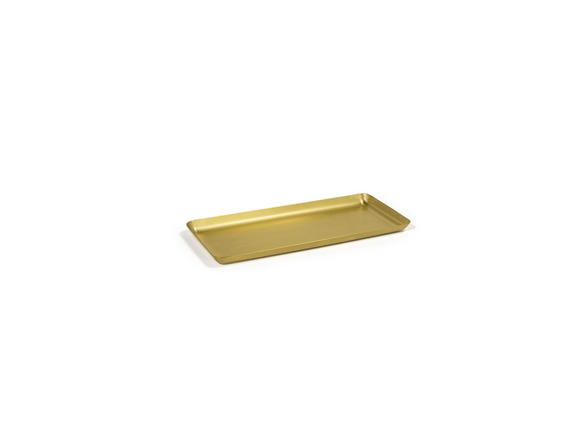 """10"""" x 4.5"""" Brushed Stainless Tray - Matte Brass"""