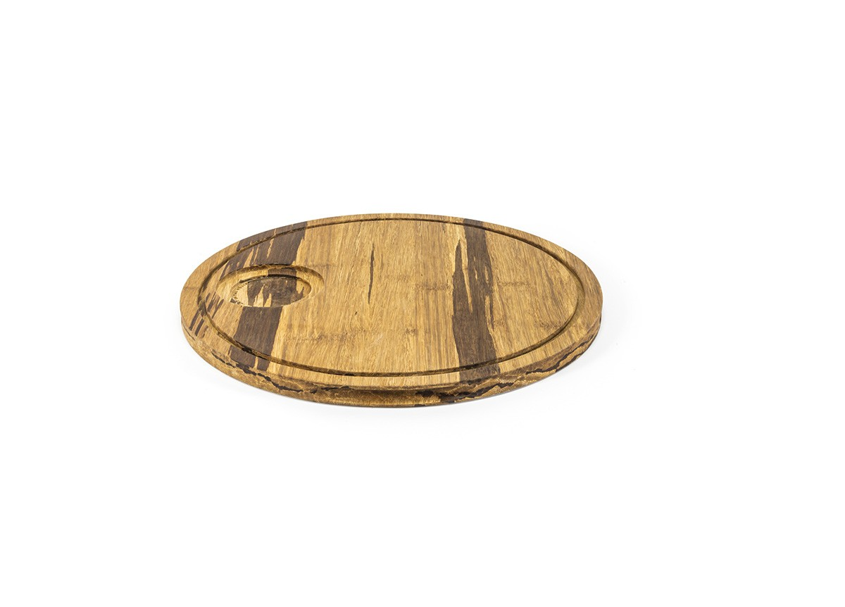 "12"" Round Rustic Chic Crushed Bamboo Board"