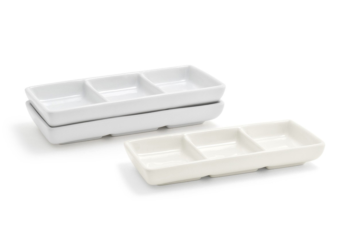 Stackable Three Compartment Dish