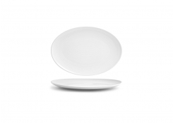 "11.5"" Spiral Oval Coupe Plate - White"