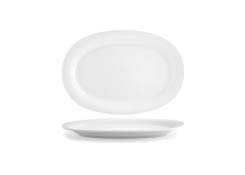 "14"" Oval Spiral Plate - White"