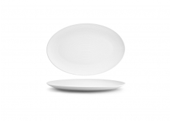 "13"" Spiral Oval Coupe Plate - White"