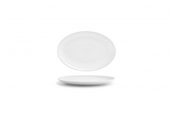 "9.5"" Spiral Oval Coupe Plate - White"