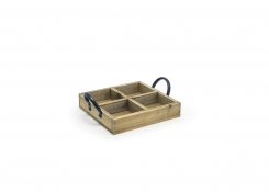 "6.75"" Square Rustic Wood Holder"