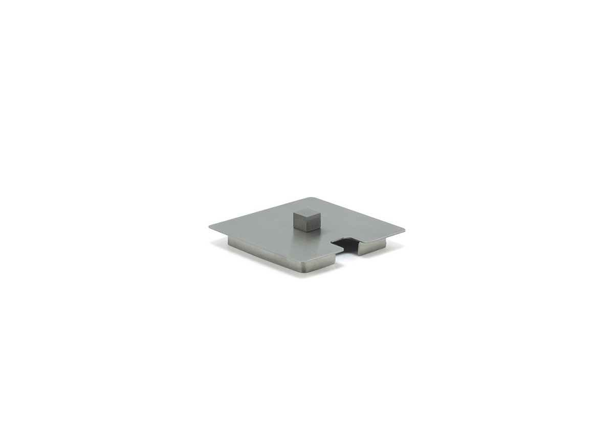 "2.75"" Square Brushed Stainless Lid - Silver"