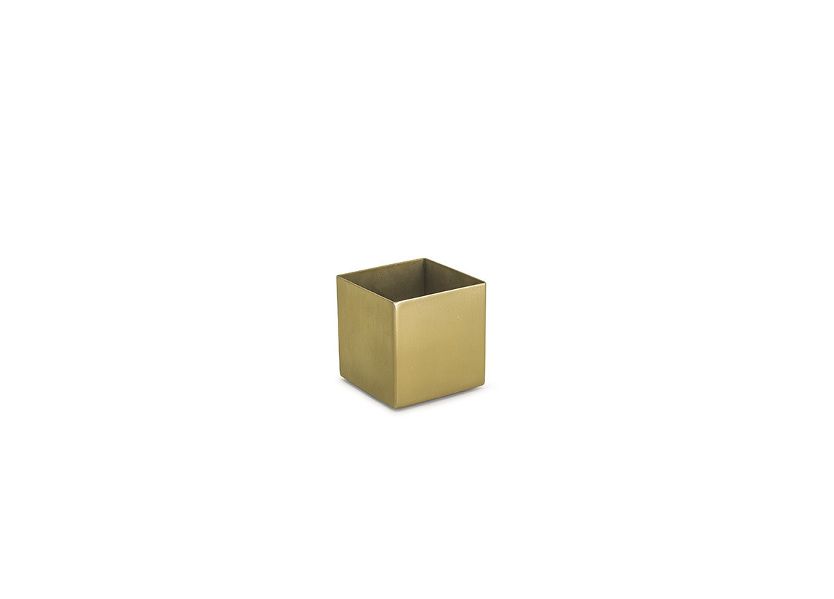 4oz Square Brushed Stainless Canvas Ramekin - Matte Brass