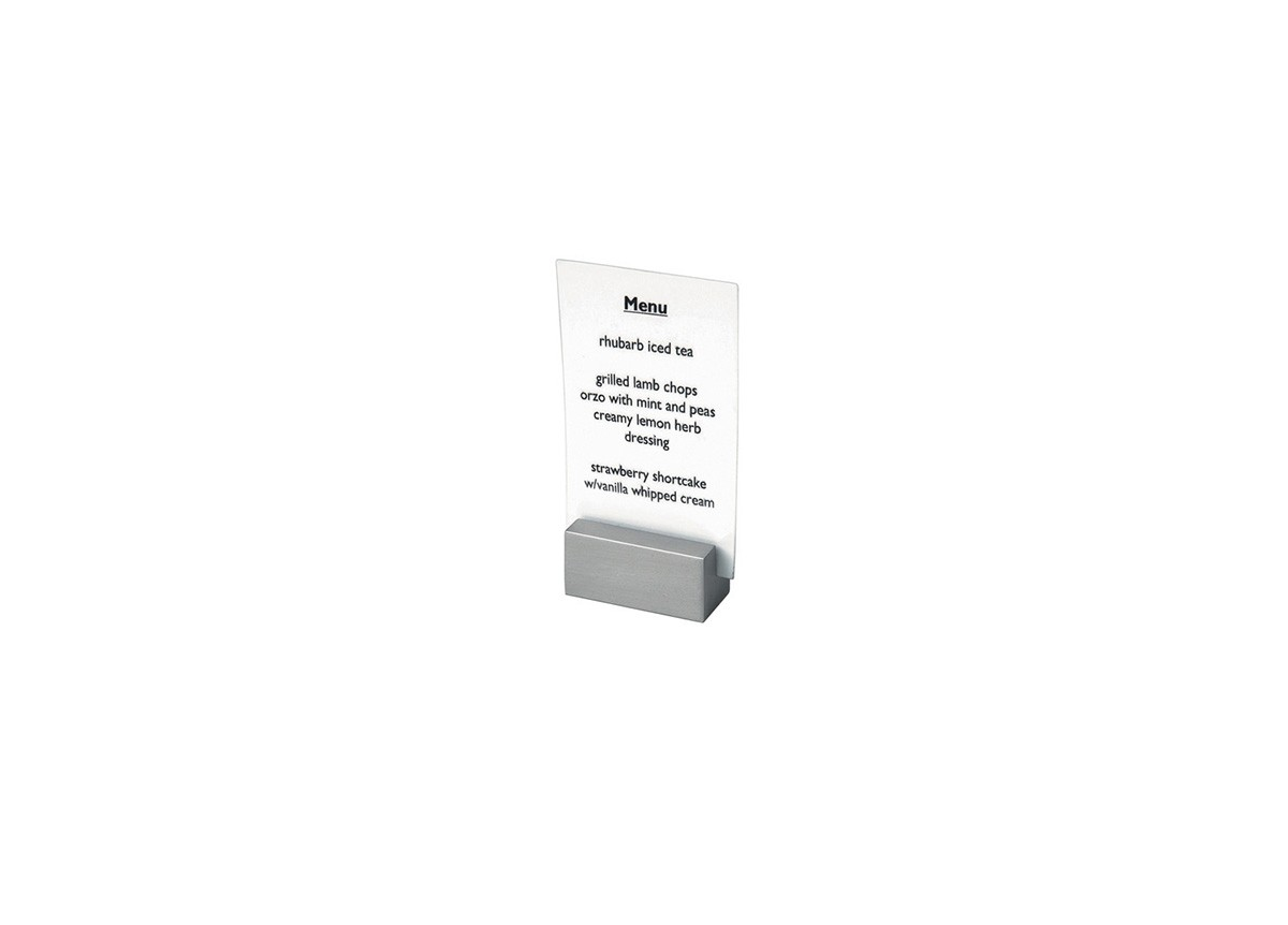 "1.5"" x 0.75"" Brushed Stainless Menu/Sign Holder - Silver"