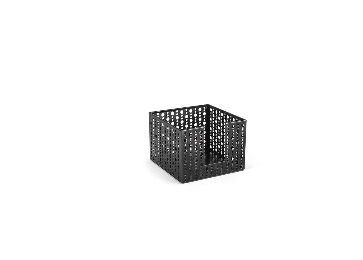 "5.5"" Square Brushed Stainless Dots Napkin Holder - Matte Black"