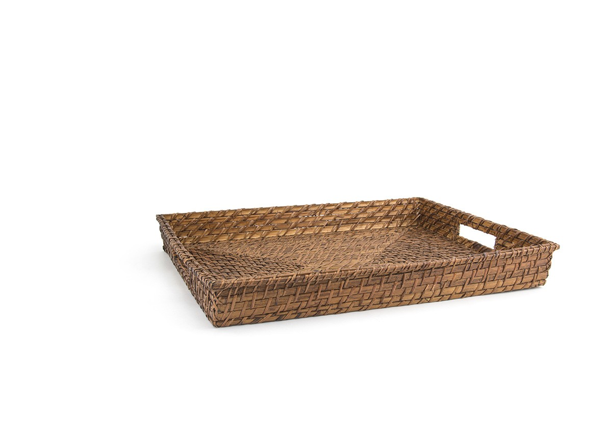 "19"" Rectangle Rattan Tray - Brown"