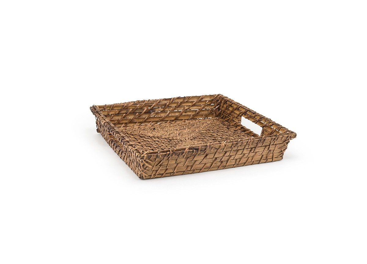 "12"" Square Rattan Tray -- Brown"