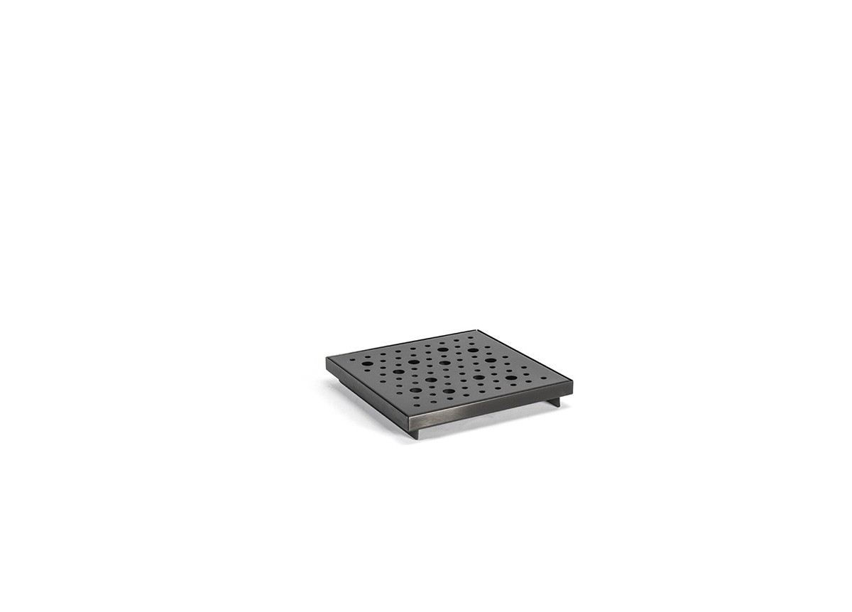 "6"" Square Brushed Stainless Footed Drip Tray - Matte Black"