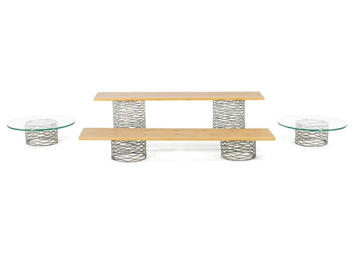 Buffet Essentials - Patina - Natural Bamboo and Clear Glass on Patina