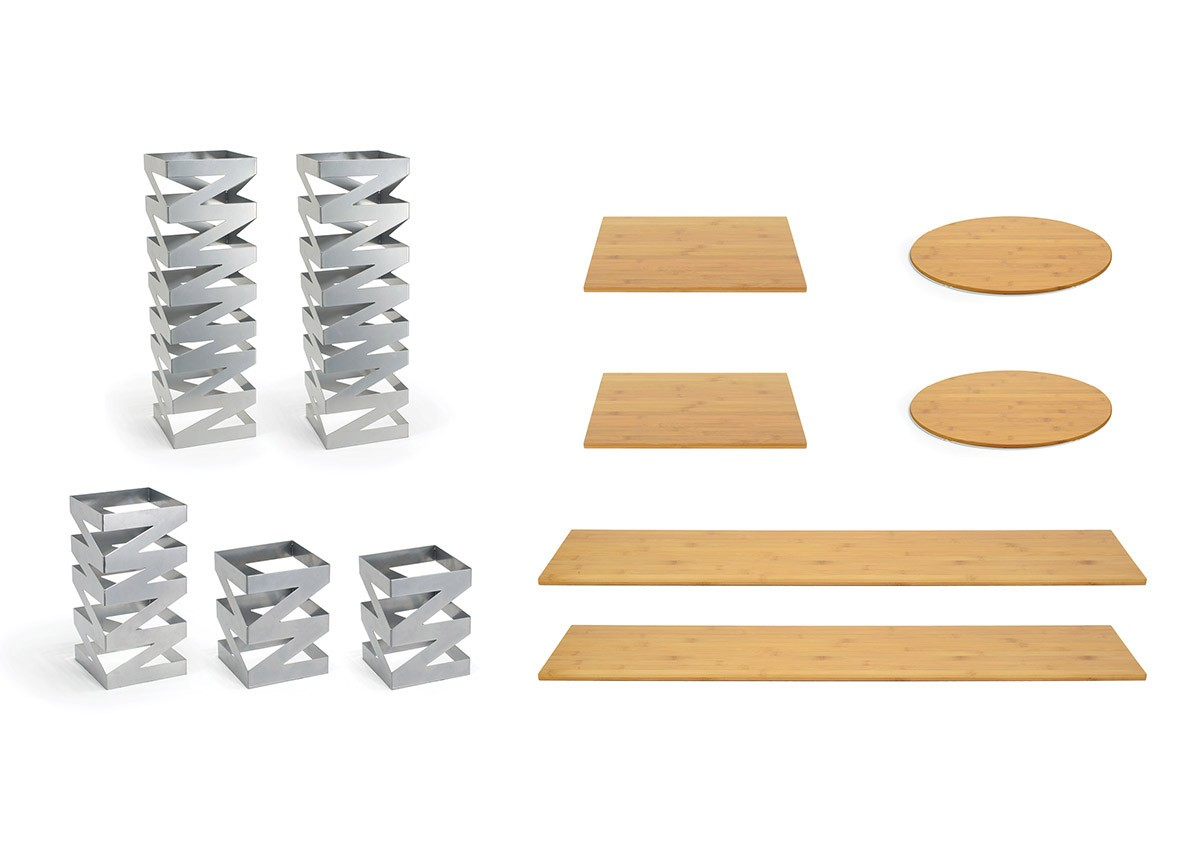 Buffet Essentials - Zig Zag - Natural Bamboo on Silver