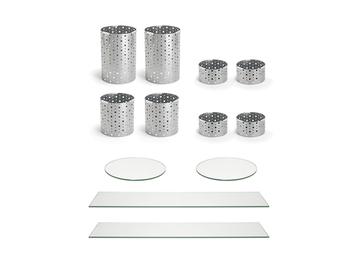 Buffet Essentials - Dots - Clear Glass on Silver