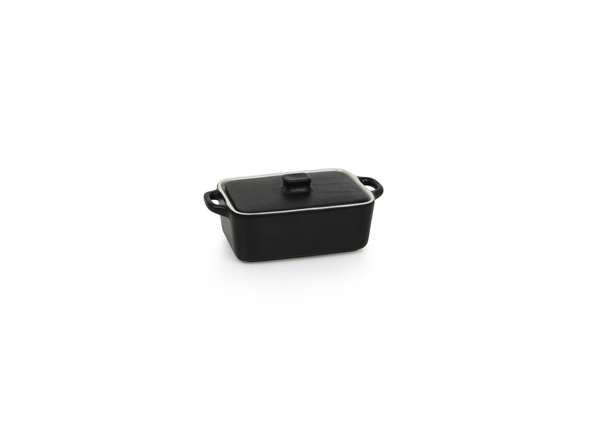 10oz Rectangle Kiln®  Ovenware Dish with Lid - Black