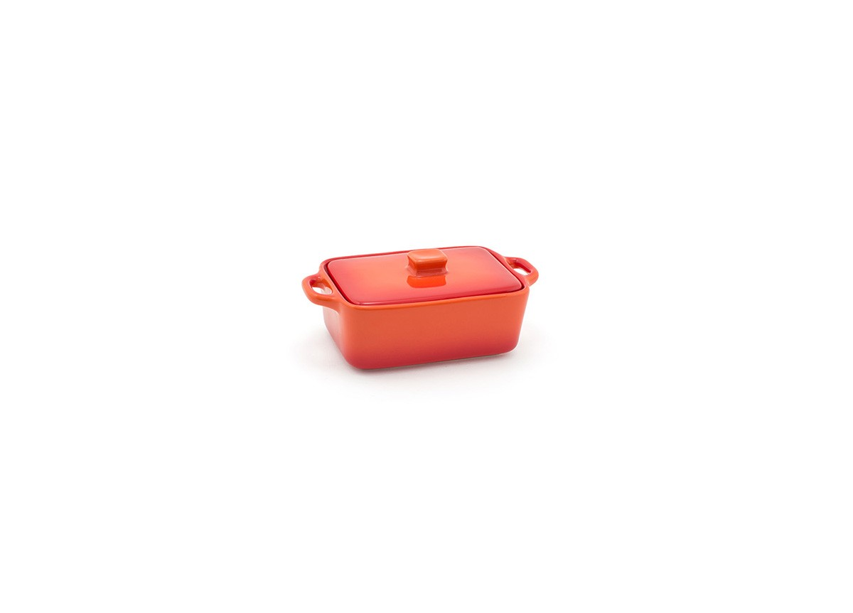 10oz Rectangle Kiln Ovenware Dish with Lid - Blood Orange