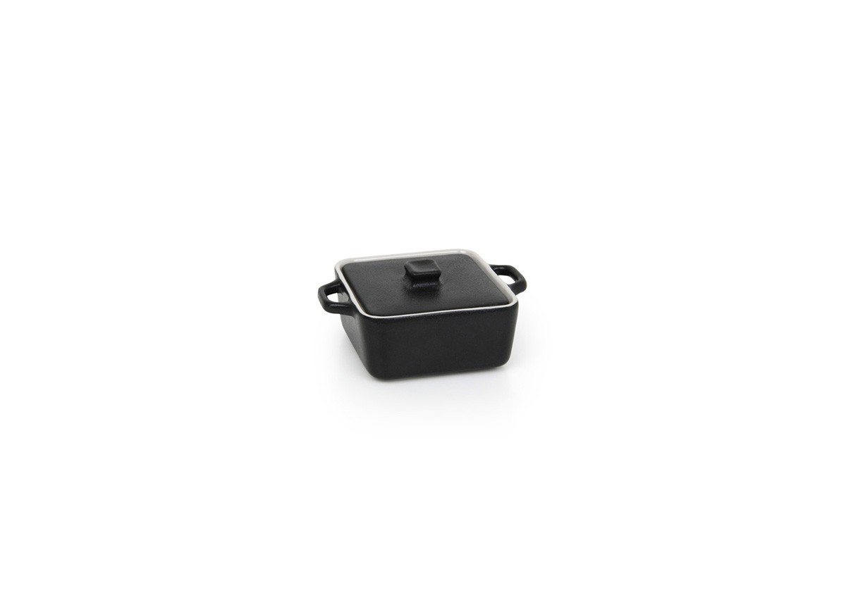 8oz Square Kiln Ovenware Dish with Lid - Black