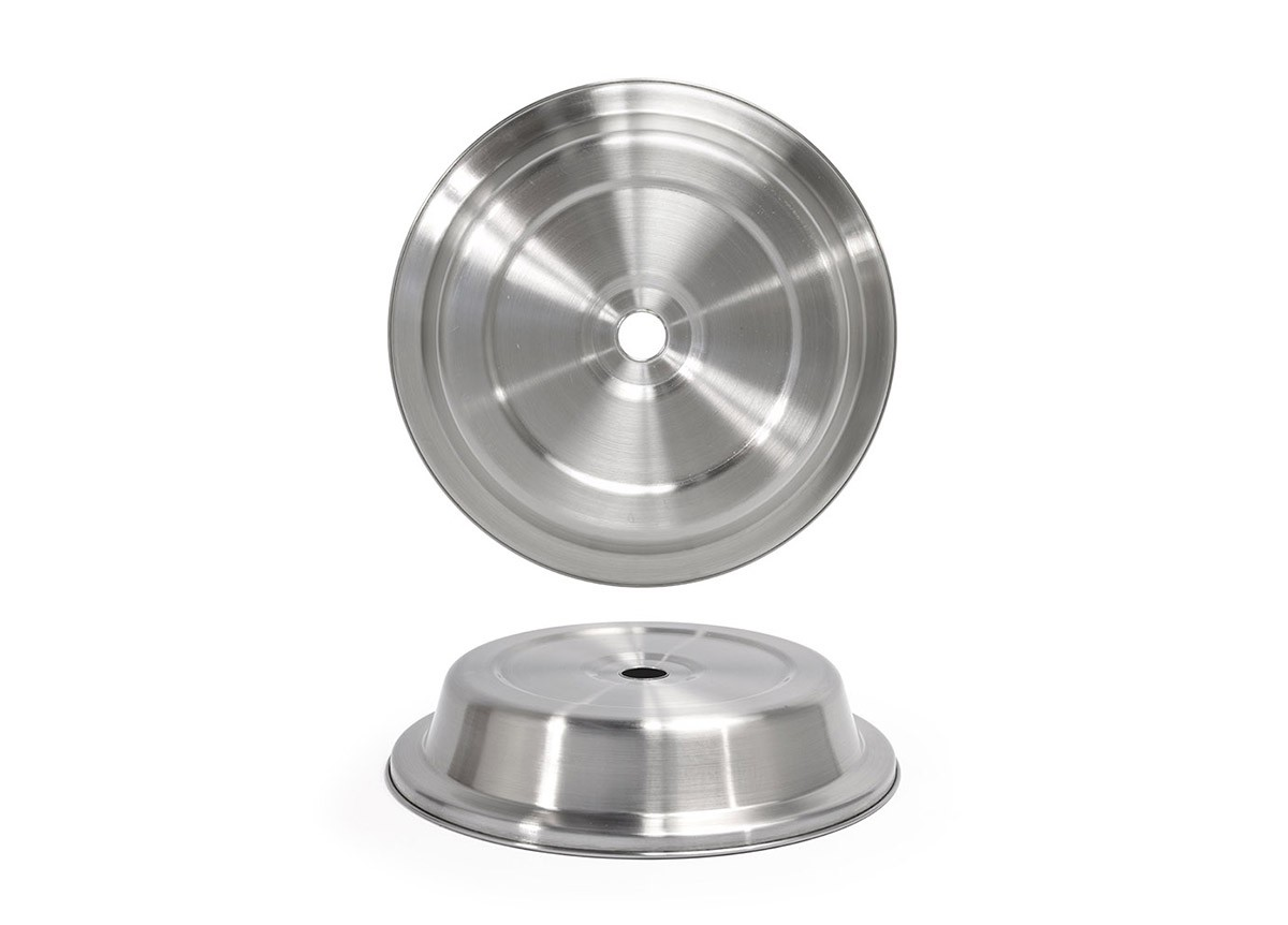 "10.62"" Round Brushed Stainless Plate Cover – Silver"