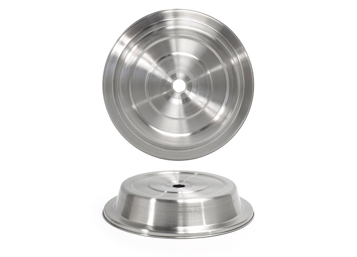 "11.5"" Round Brushed Stainless Plate Cover – Silver"
