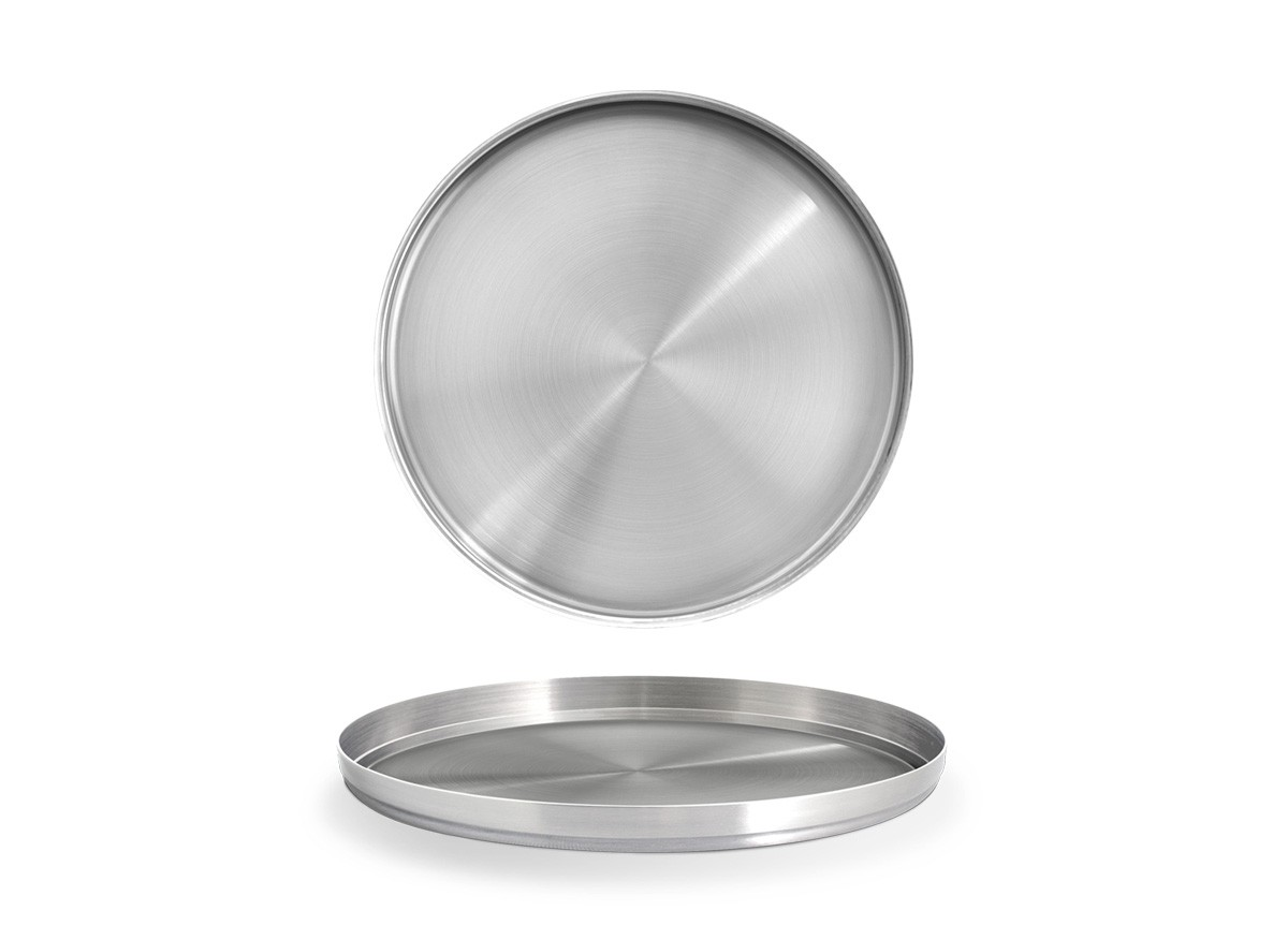 "9"" Round Brushed Stainless Soho Plate – Silver"