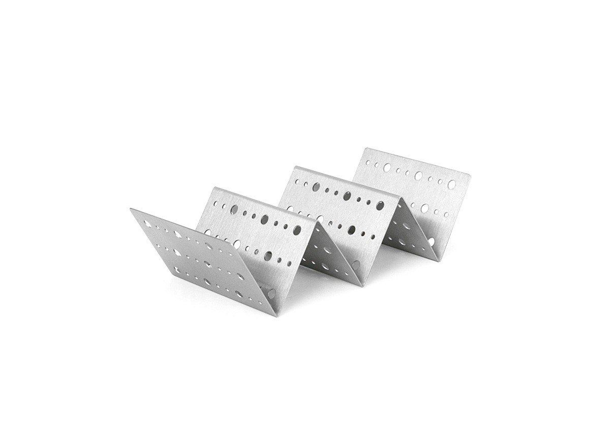 """8"""" x 4"""" Brushed Stainless Dots Taco Holder - Silver"""