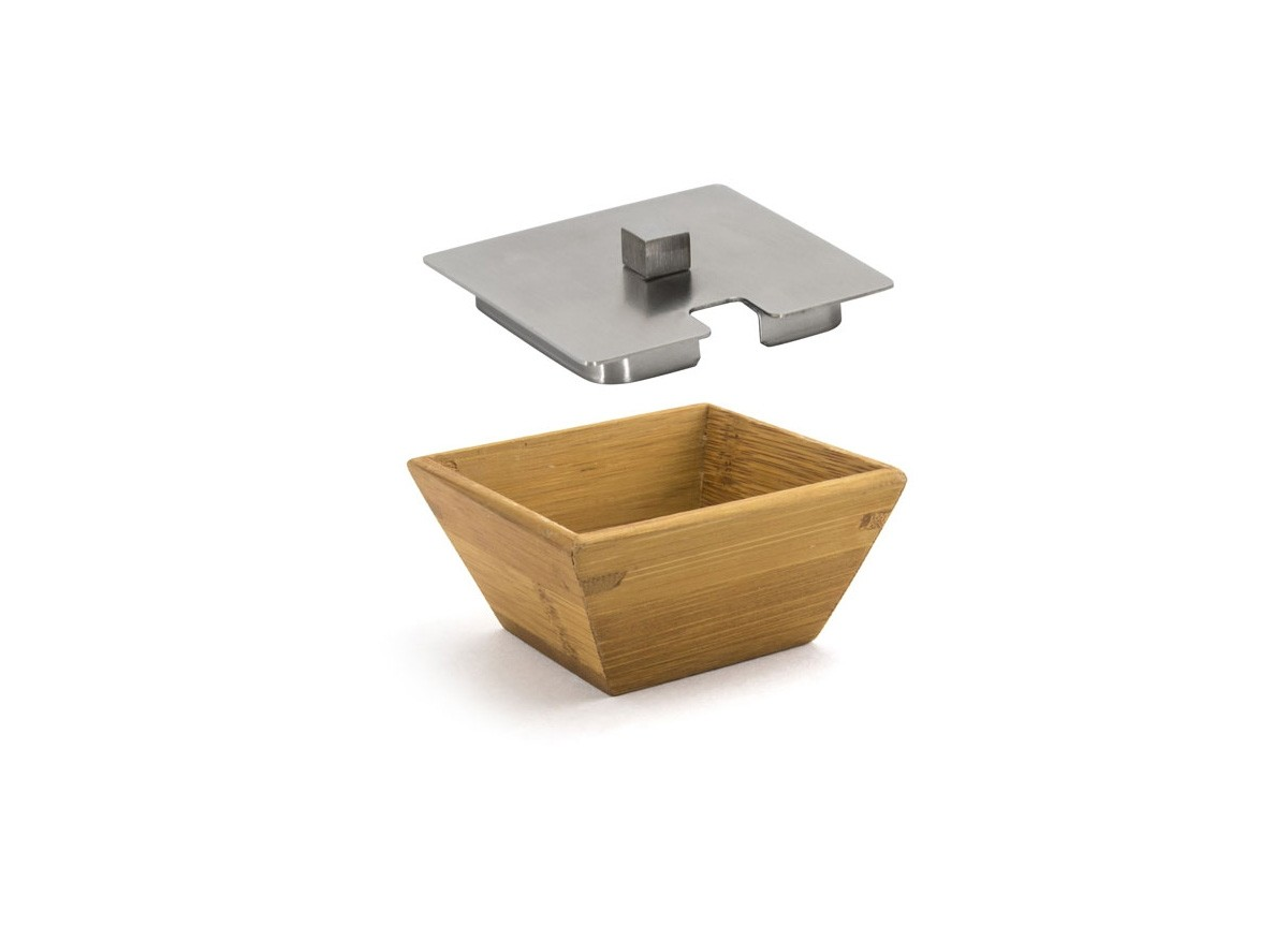 """3.25"""" Square Kyoto Dish - Bamboo and Cover"""