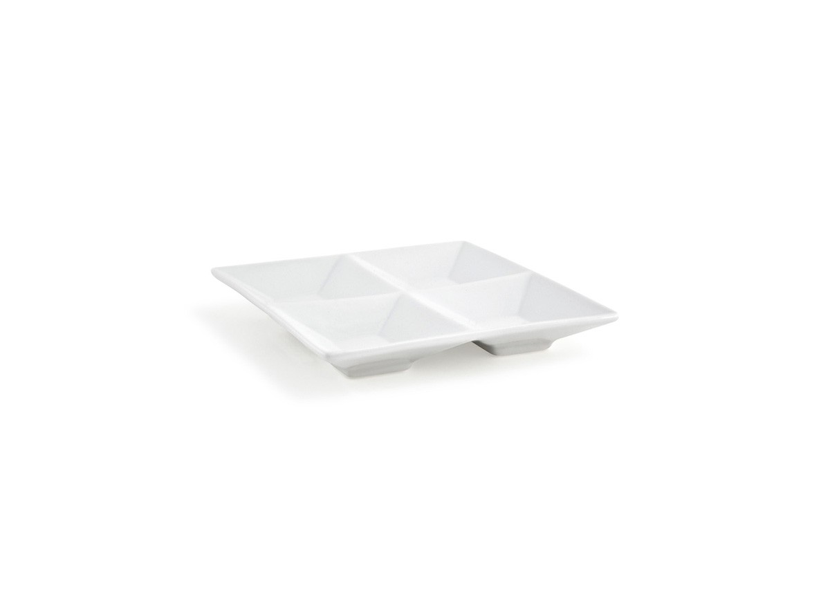 "6"" Square Kyoto Four Compartment Dish - 4oz"