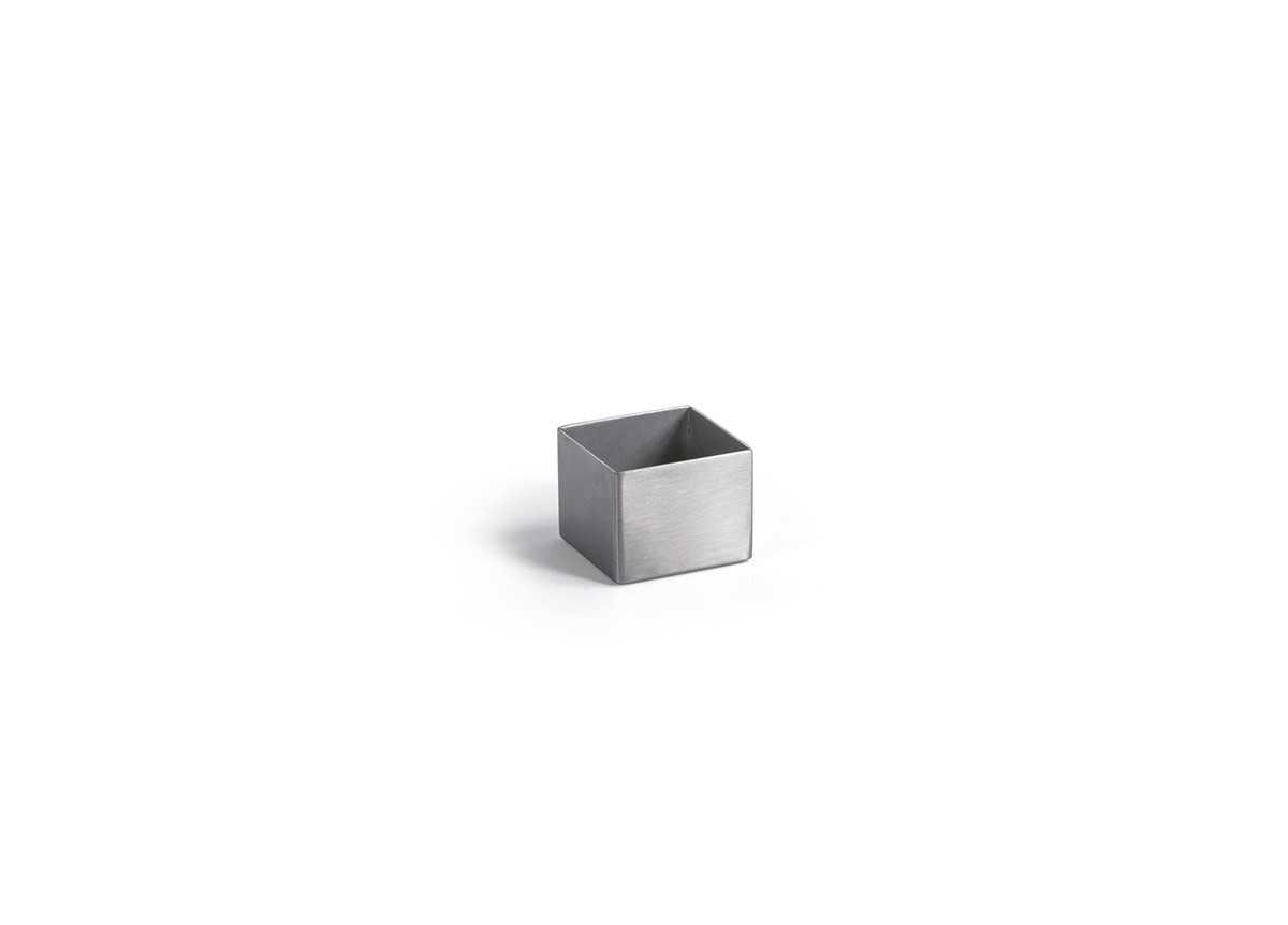 1oz Square Brushed Stainless Canvas Ramekin - Silver