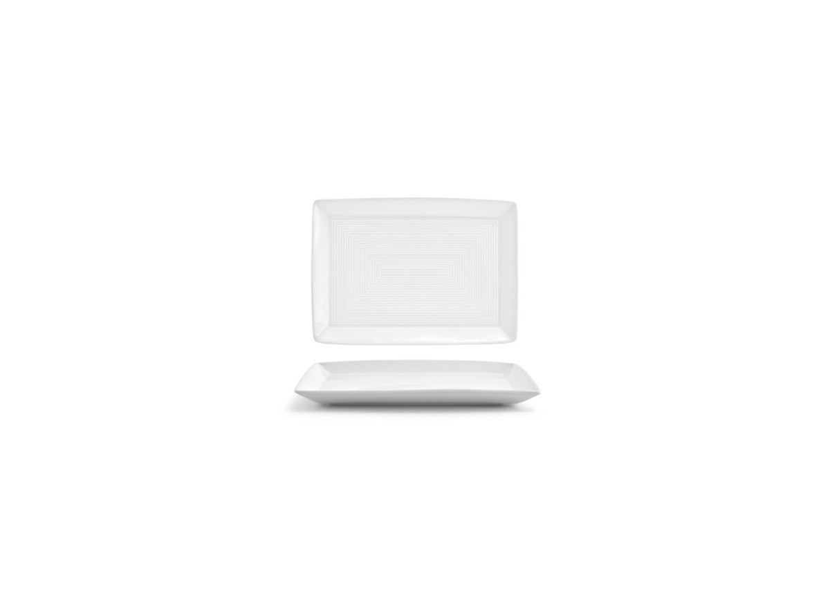 "7"" x 5"" Spiral Rectangle Plate - White"