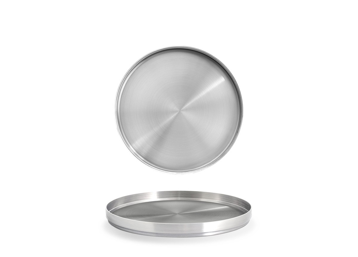 "7.5"" Round Brushed Stainless Soho Plate – Silver"