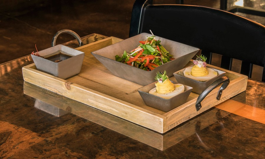 Gallery Rustic Wood Tray and Antique Stainless Steel