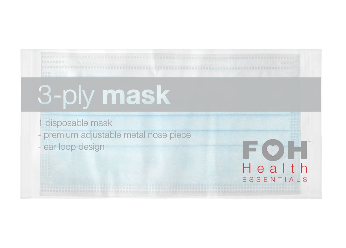 3-ply Ear-Loop Face Mask – Wrapped