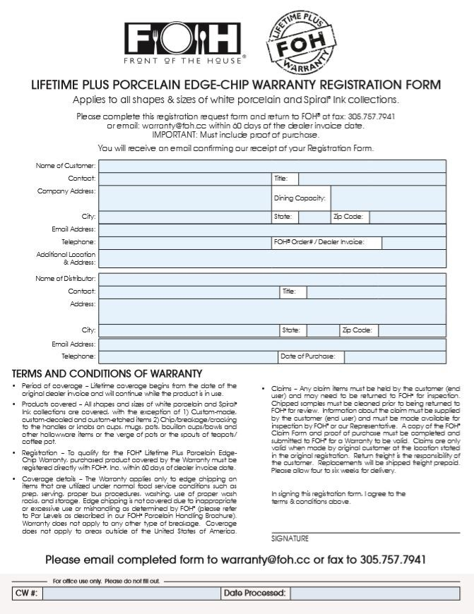 Lifetime PLUS Porcelain Edge-Chip Warranty Registration