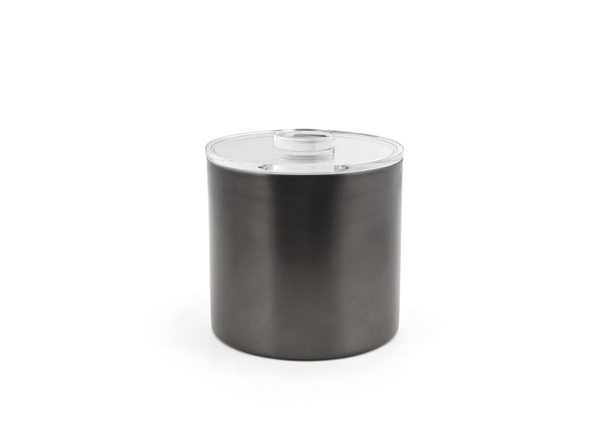 3qt Round Stainless Ice Bucket - Matte Black with Acrylic Lid