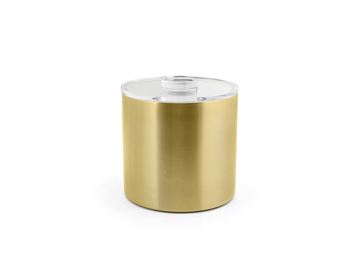 3qt Round Stainless Ice Bucket - Matte Brass with Acrylic Lid
