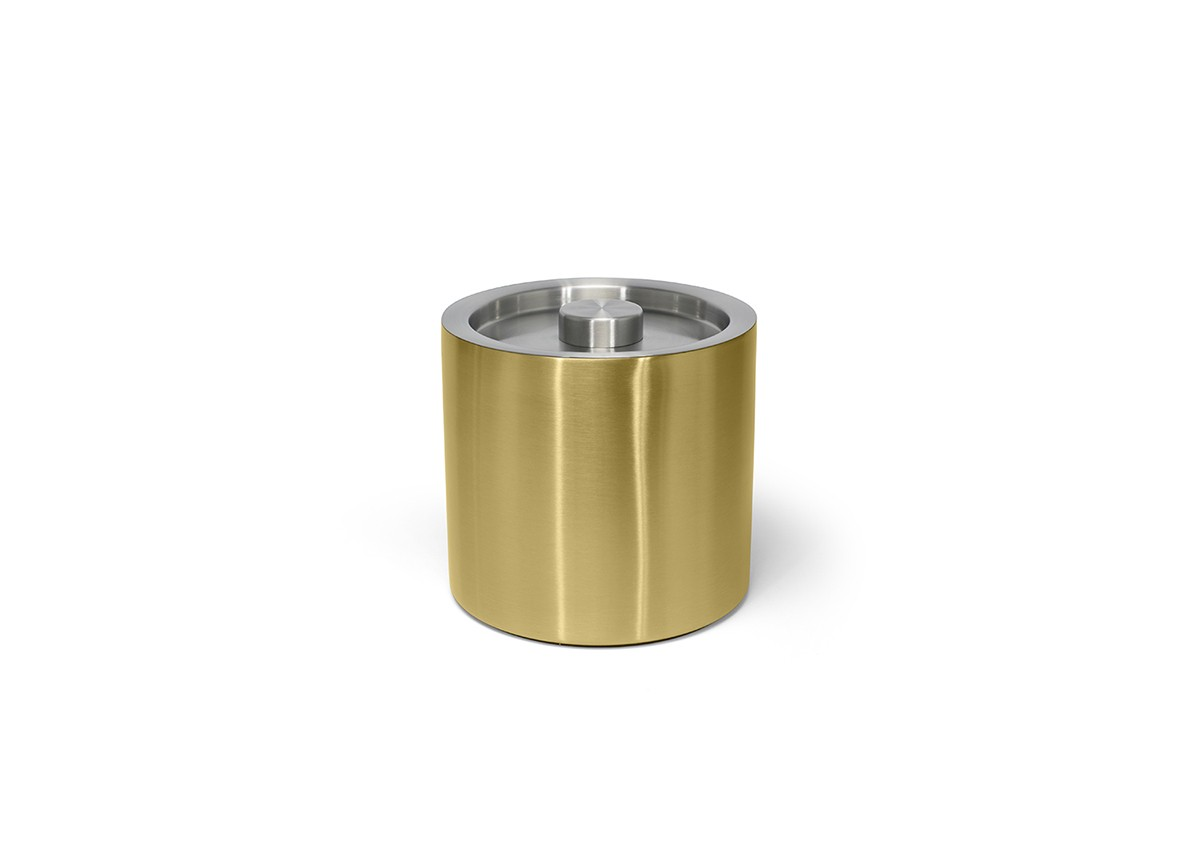 3qt Round Brushed Stainless Ice Bucket - Matte Brass with Brushed Stainless Lid